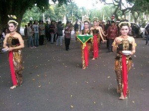 Ceremonial procession performed by traditional Javanese court dancers